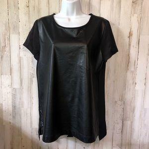 J.Crew Black Vegan Leather Blouse